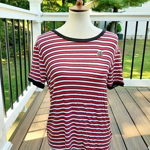 Small medium cherry stripe vintage pinup shirt new